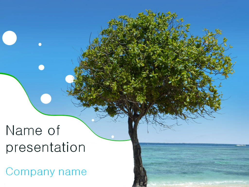 Free Beach Tree PowerPoint template presentation