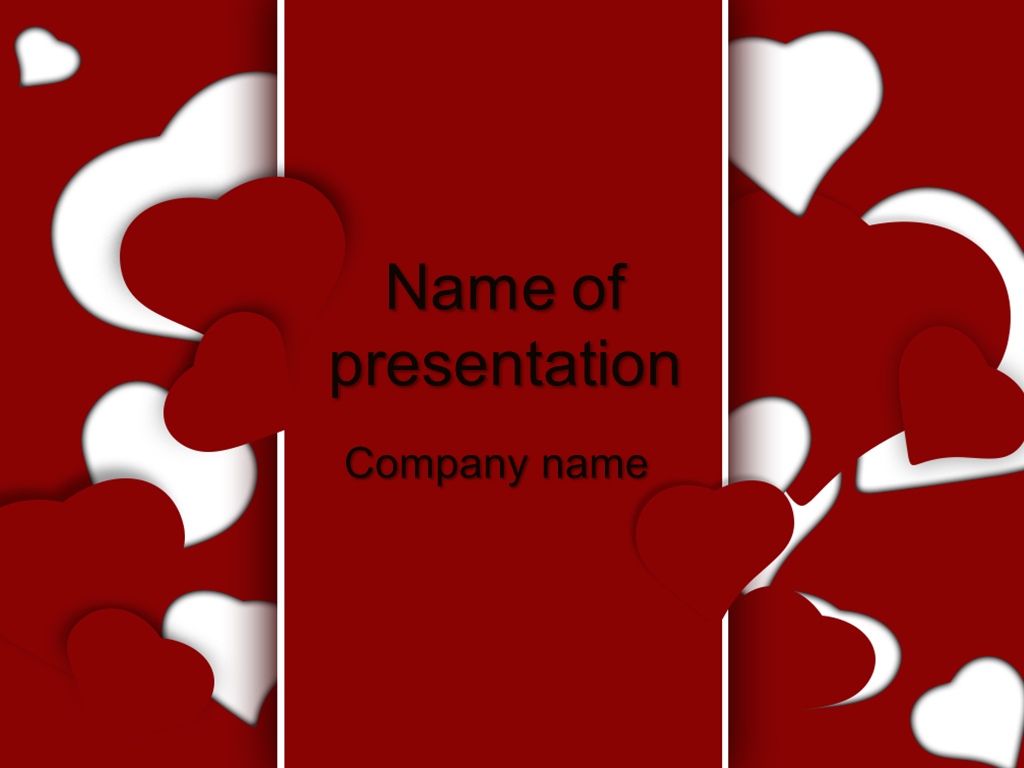 Free Red Hearts powerpoint template presentation
